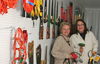two ladies in the tool lending library