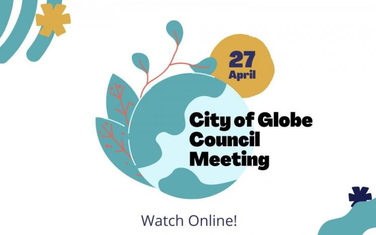 City of Globe Council Meeting Flyer with Globe and Leaves